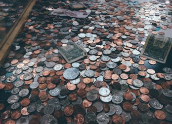 coins, pennies, dollars